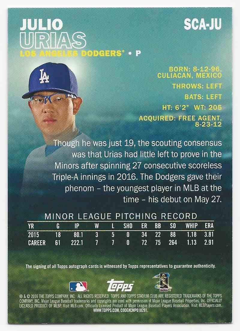 2016 Stadium Club Autographs Julio Urias #SCA-JU card back image