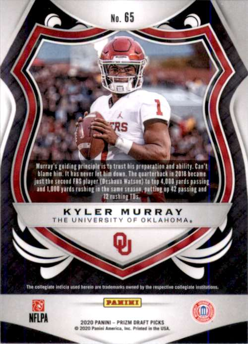 2020 Panini Prizm Draft Picks Kyler Murray #65 card back image
