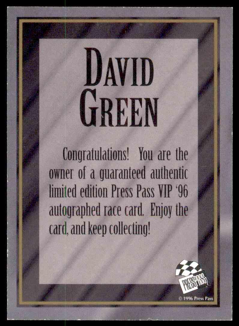 1996 Press Pass Vip David Green card back image