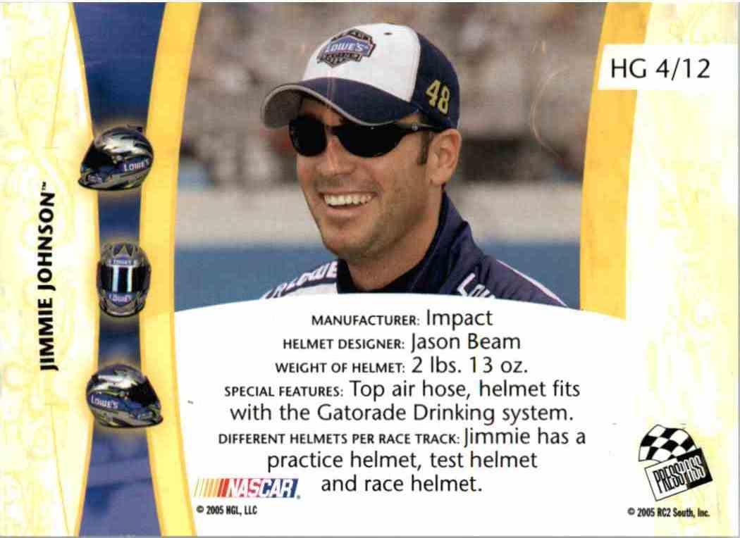 2005 Press Pass Vip Head Gear Jimmie Johnson #HG4 card back image