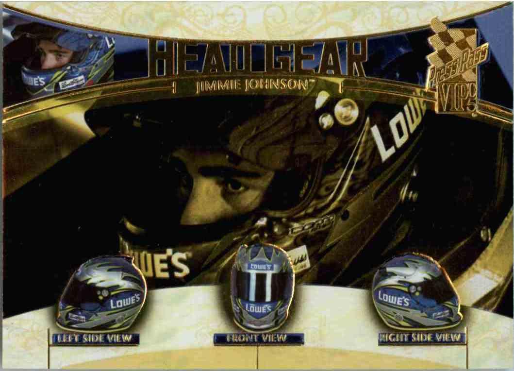 2005 Press Pass Vip Head Gear Jimmie Johnson #HG4 card front image