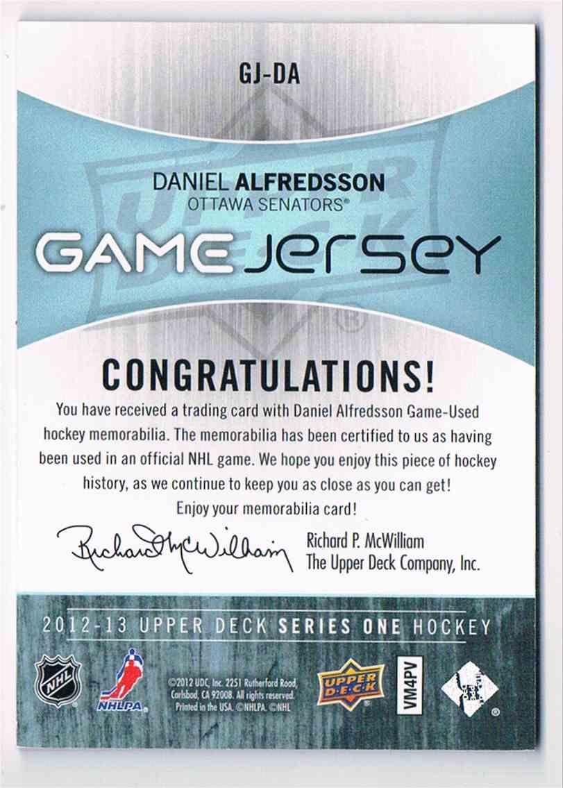 2012-13 Upper Deck Game Jersey Daniel Alfredsson #GJ-DA card back image