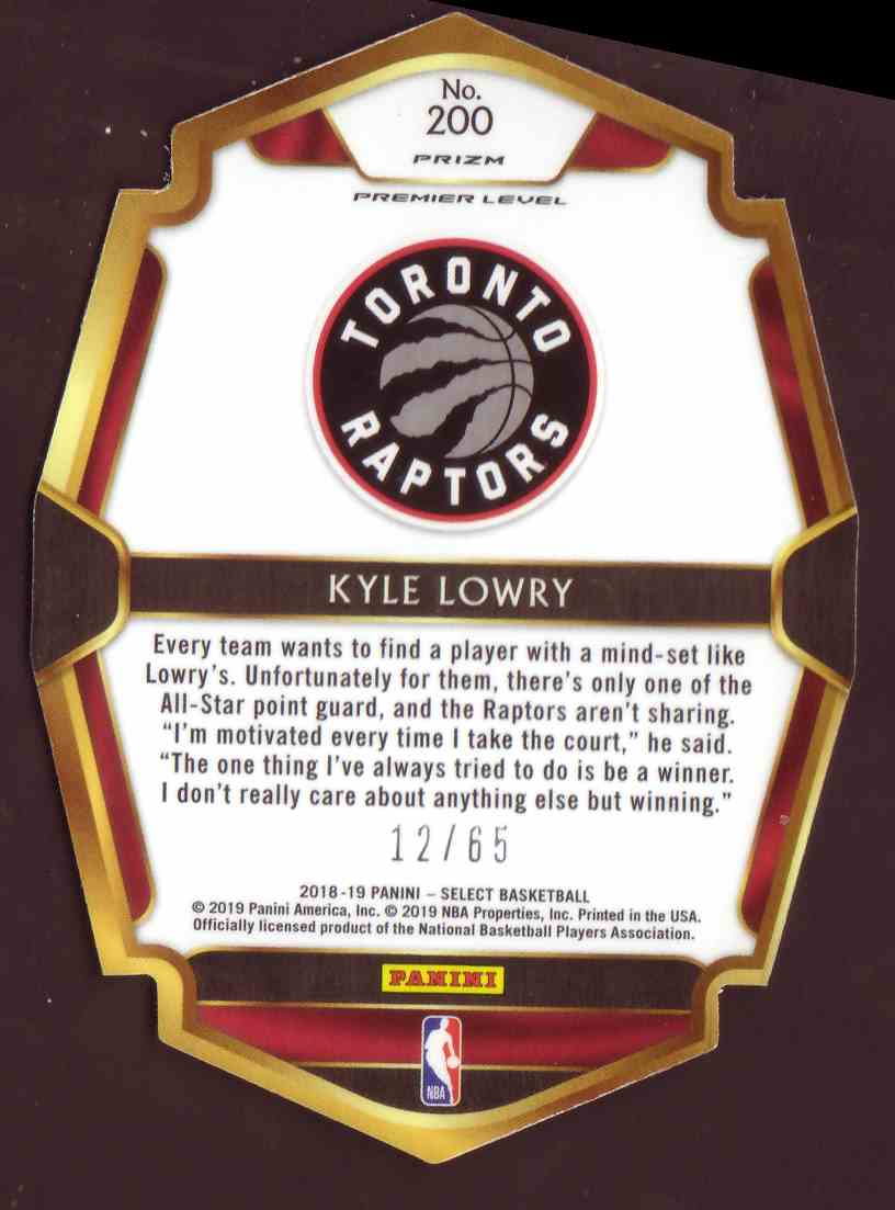 2018-19 Panini Select Premium Level Die-Cut Orange Kyle Lowry #200 card back image