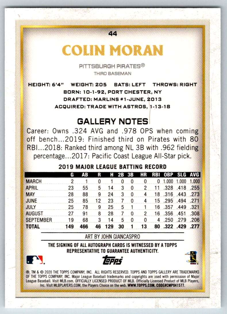 2020 Topps Gallery Autographs Colin Moran #44 card back image