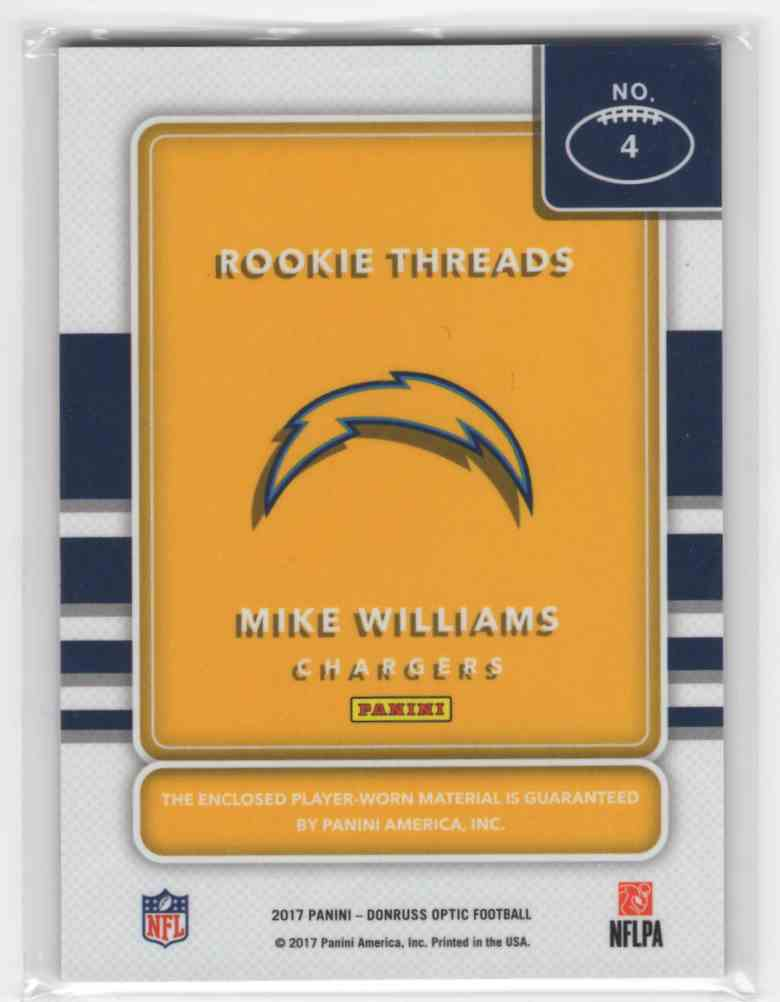 2017 Panini Donruss Optic Mike Williams #4 card back image