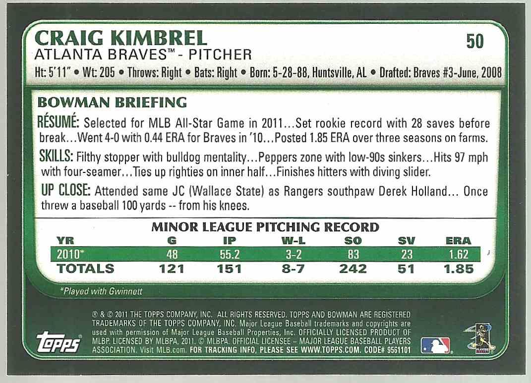 2011 Bowman Craig Kimbrel #50 card back image