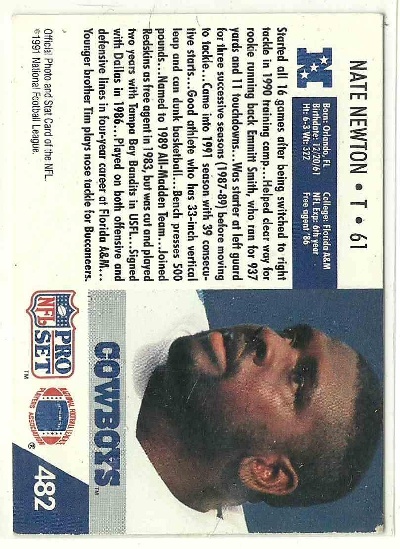 1991 Pro Set Nate Newton #482 card back image