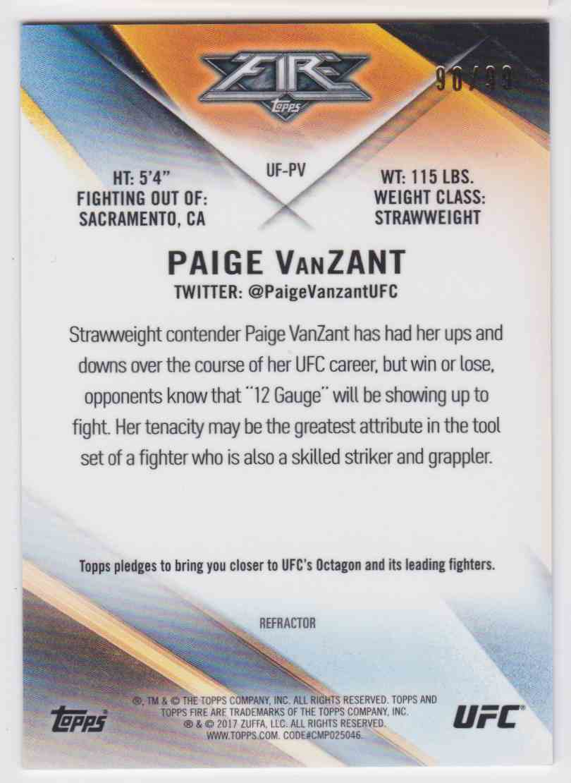 2017 Topps UFC Fire Refractor Paige Vanzant #UF-PV card back image