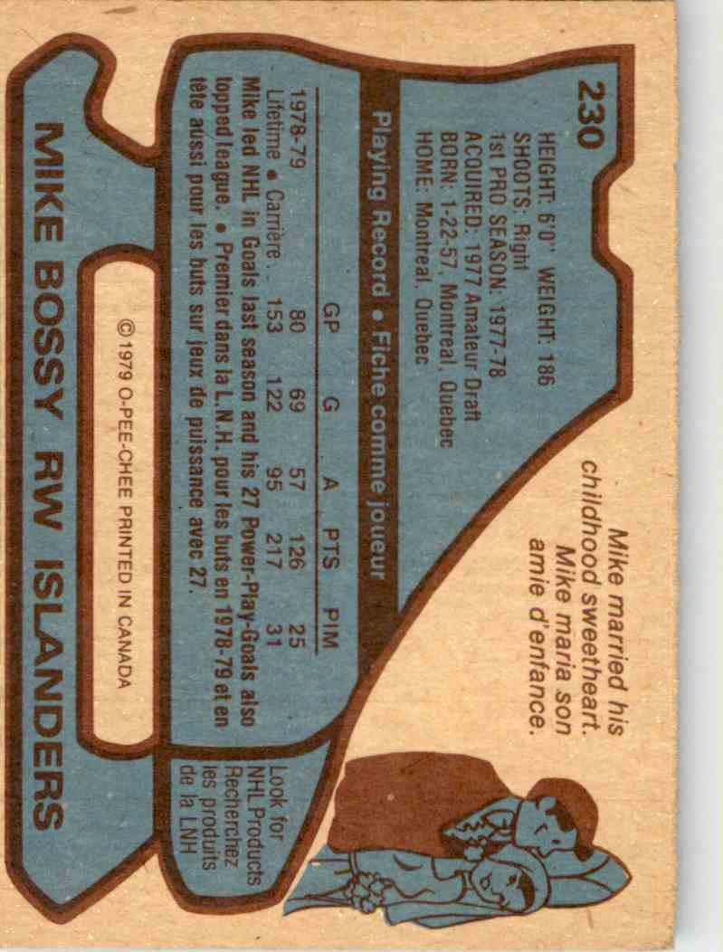 1979-80 O-Pee-Chee Mike Bossy #230 card back image