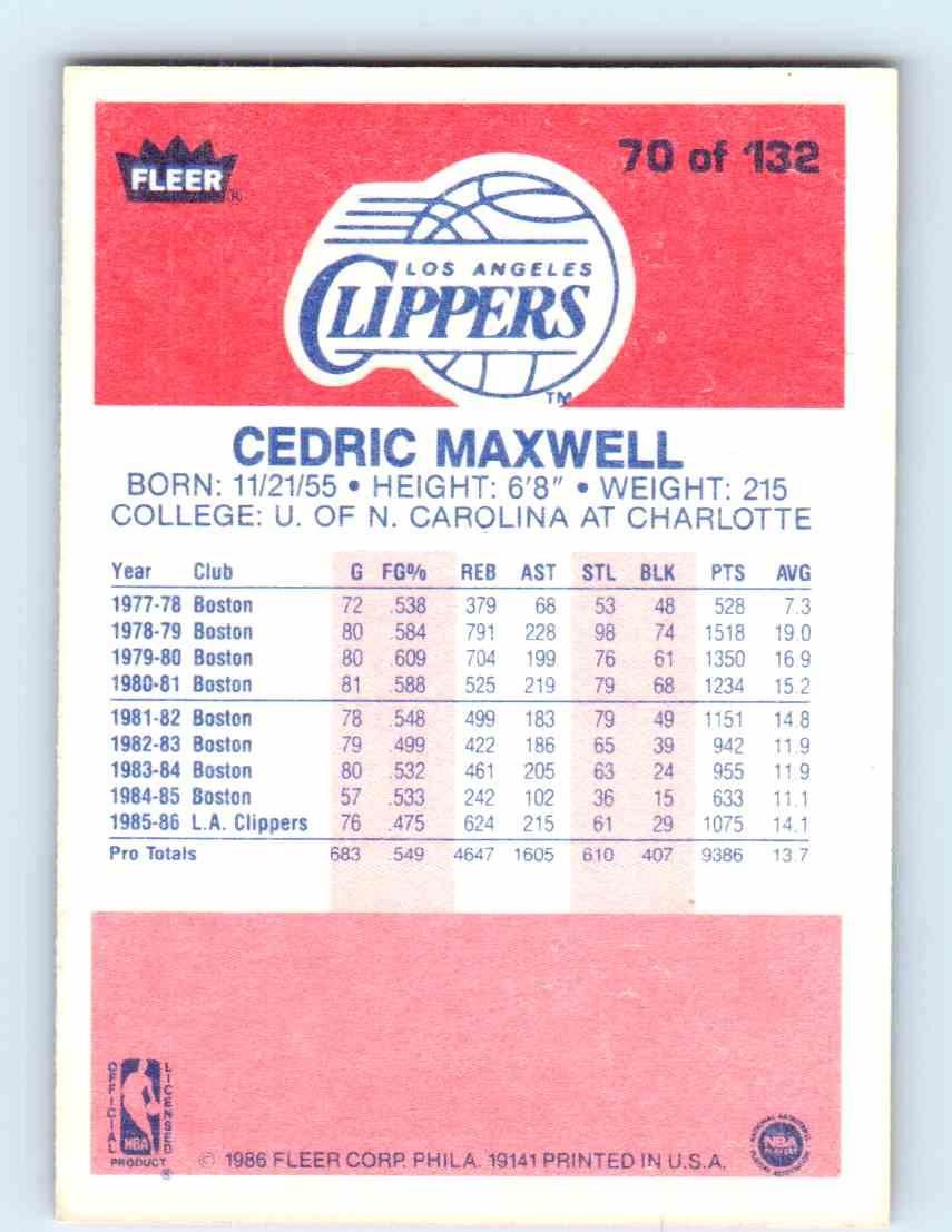 1986 87 Fleer Cedric Maxwell 70 on Kronozio