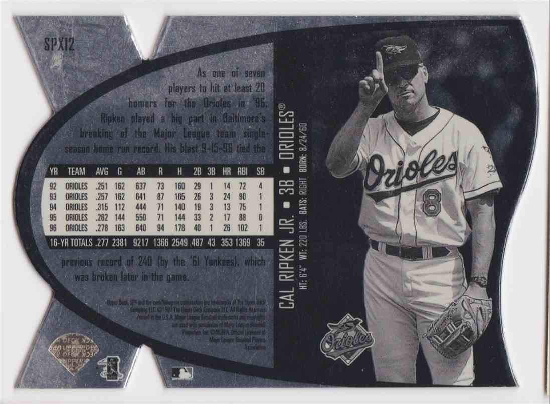 1997 Spx Hologram Die-Cut Cal Ripken JR #SPX12 card back image