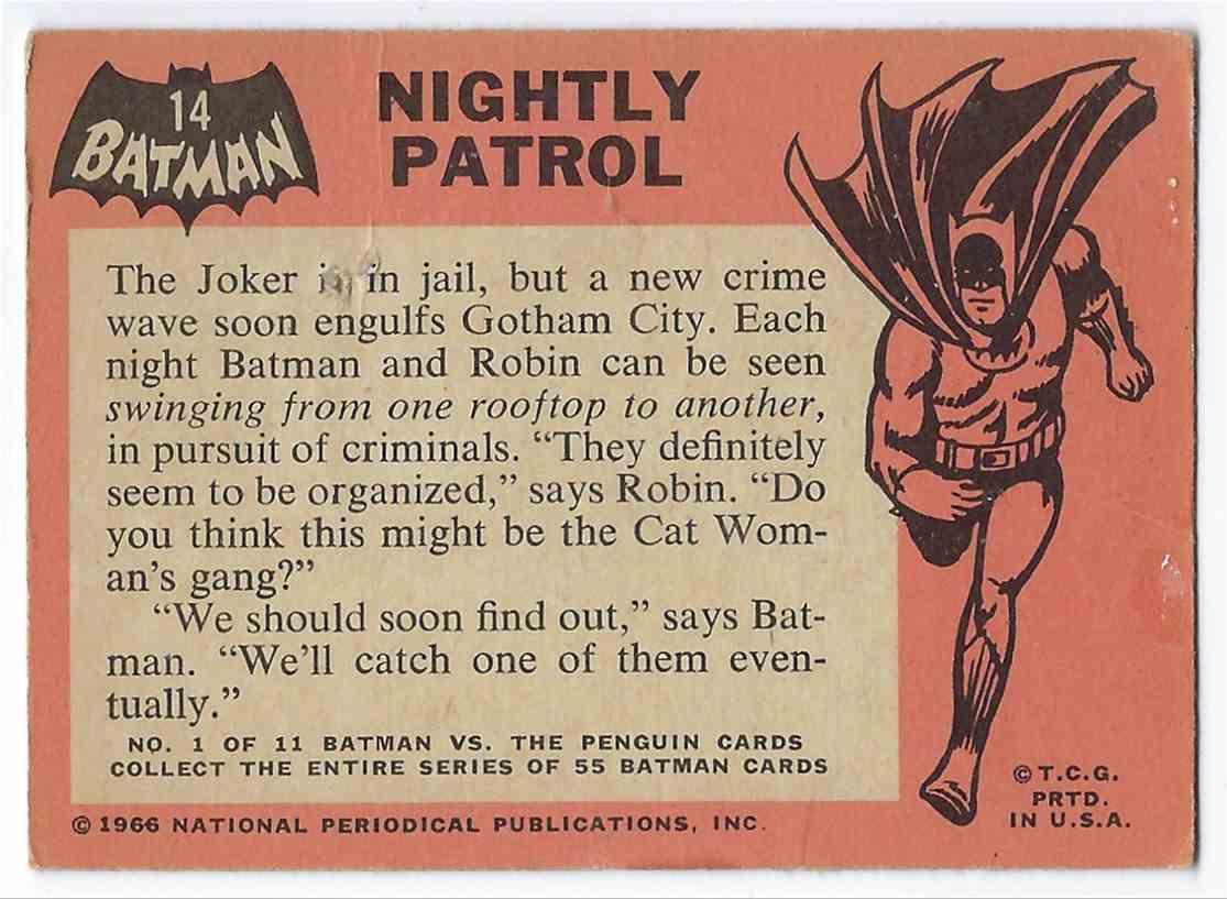 1966 Topps Batman Nightly Patrol #14 card back image