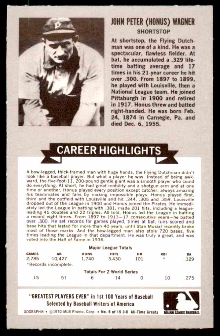 1970 Rold Gold All-Time Baseball Greats Honus Wagner #9 HOF