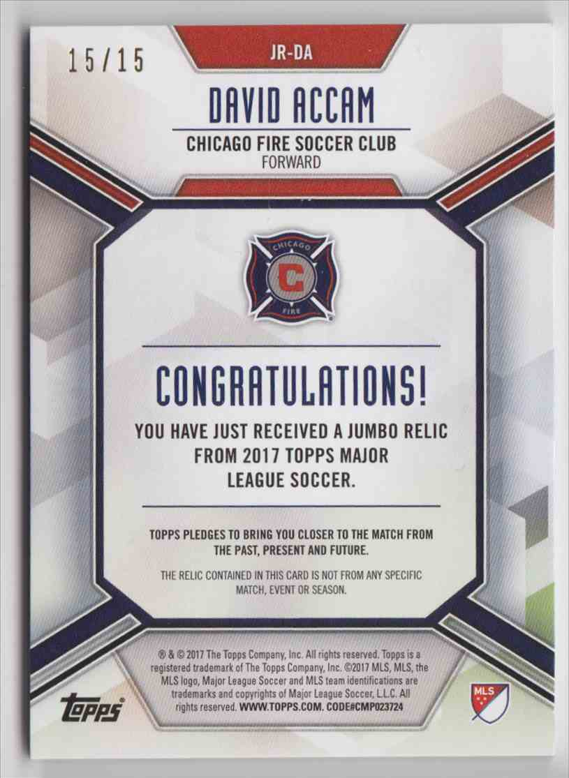 2017 Topps MLS Jumbo Relics Red Logo David Accam #JR-DA card back image