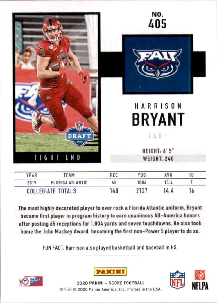 2020 Score Harrison Bryant #405 card back image