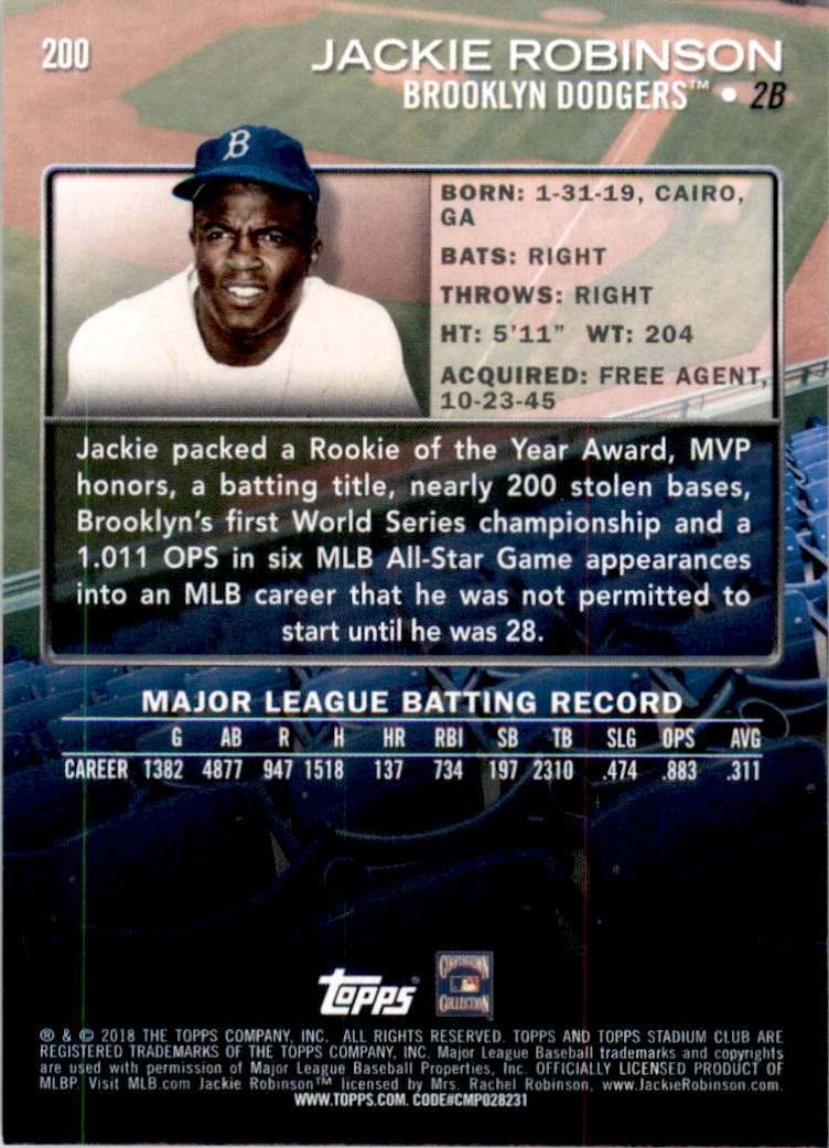 2018 Stadium Club Jackie Robinson #200 card back image