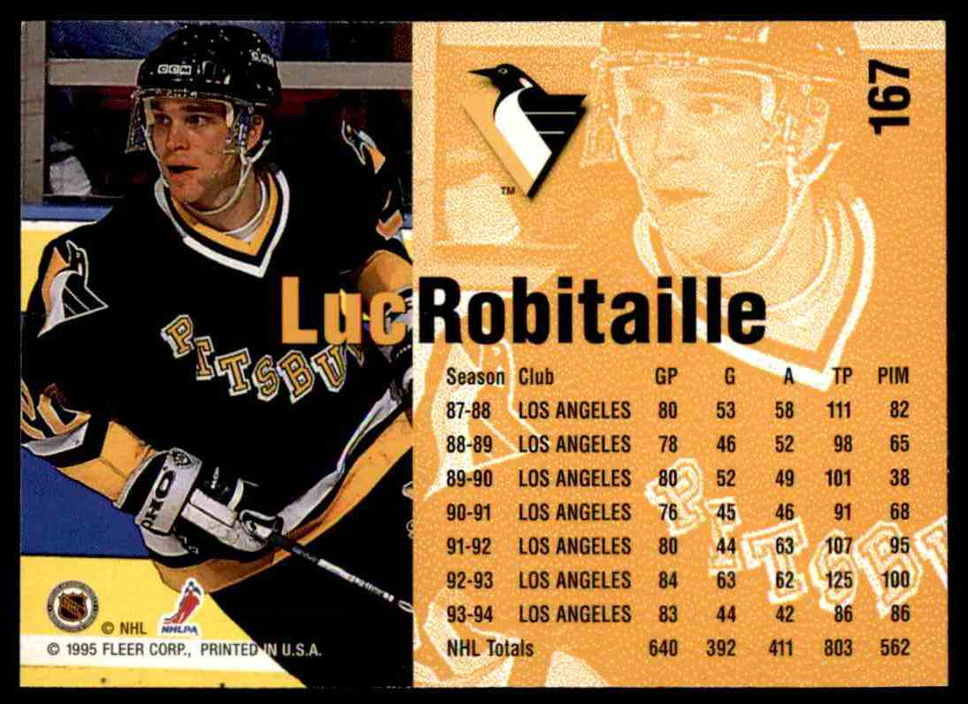 1994-95 Fleer Luc Robitaille #167 card back image