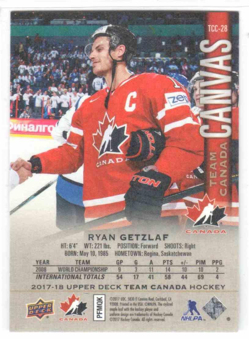 2017-18 Upper Deck Team Canada Canadian Tire Canvas Ryan Getzlaf #TCC-28 card back image
