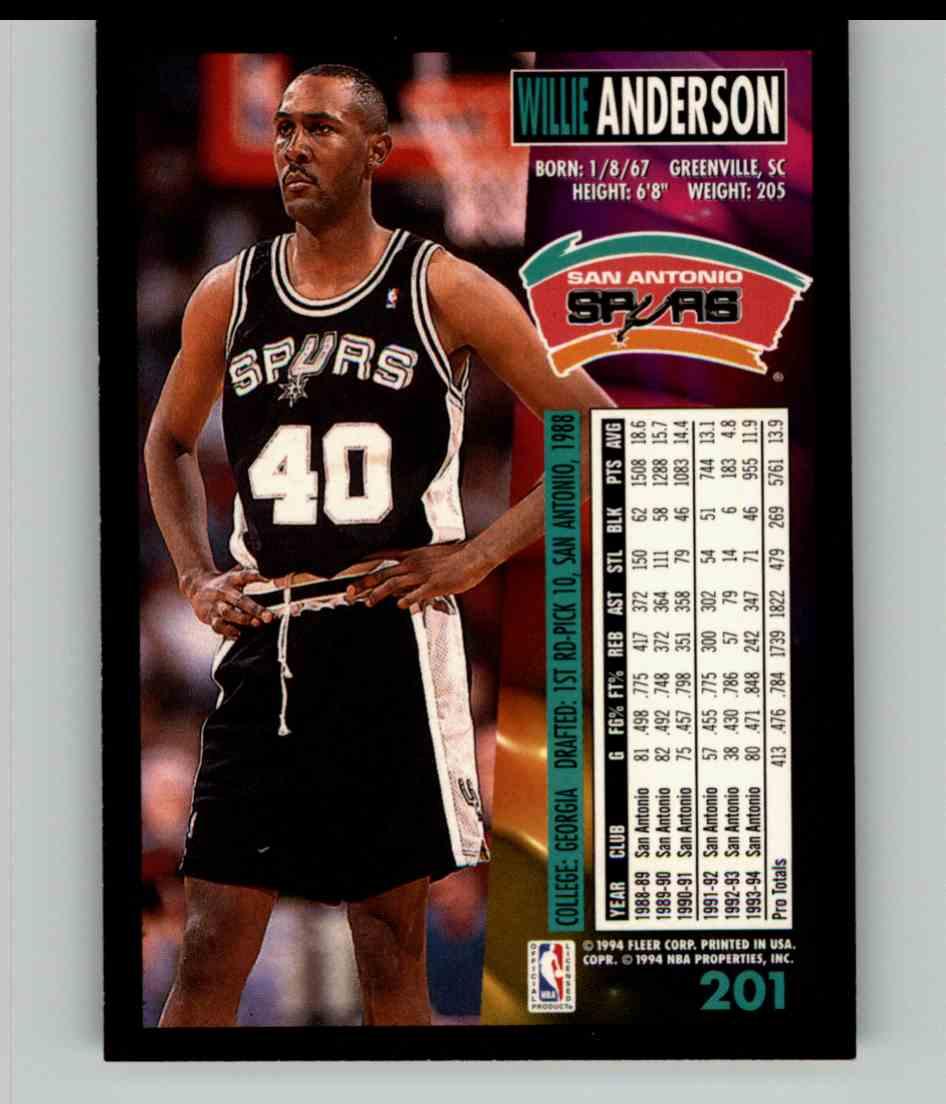 1994-95 Fleer Willie Anderson #201 card back image