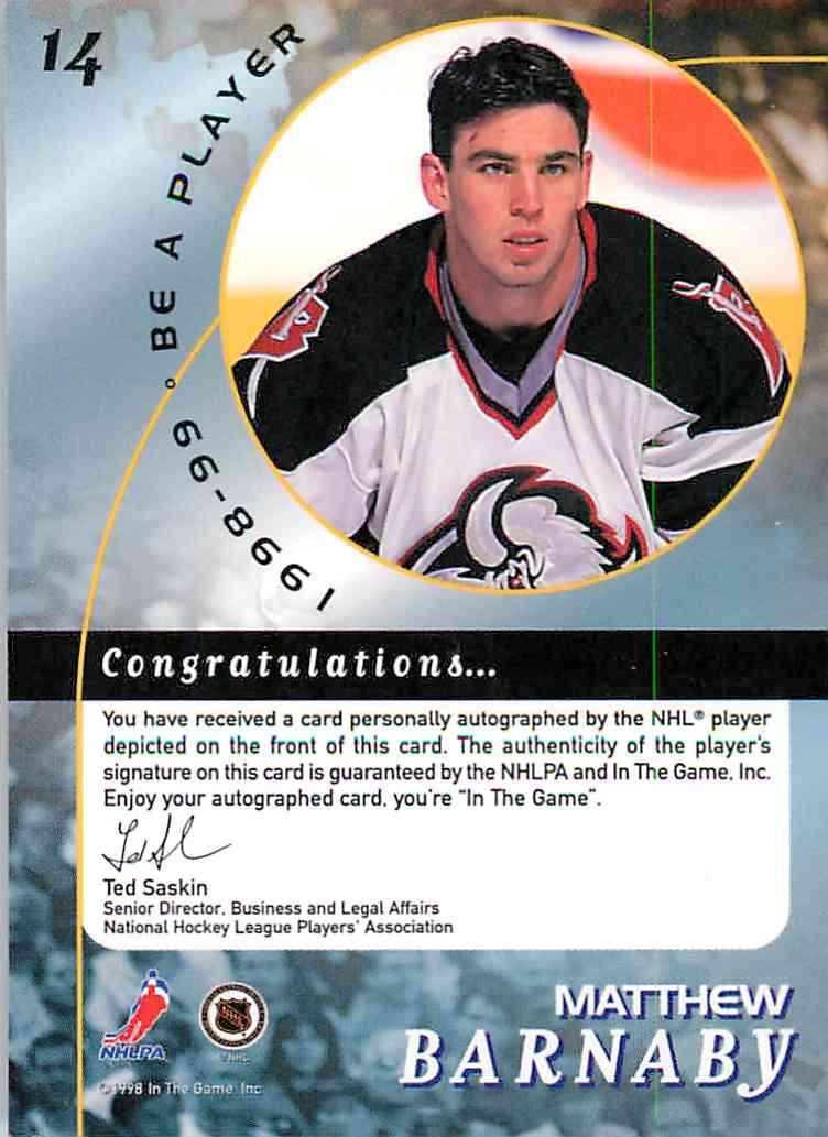 1998-99 In The Game Be A Player Matthew Barnaby #14 card back image