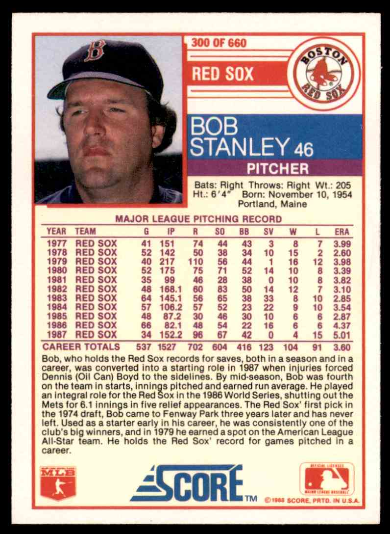 1988 Score Bob Stanley #300 card back image