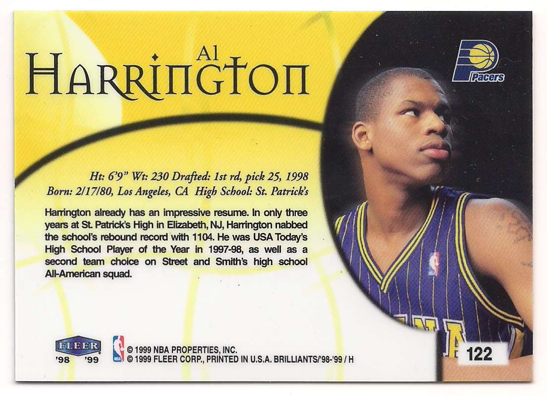 1998-99 Fleer Brilliants Al Harrington #122 card back image
