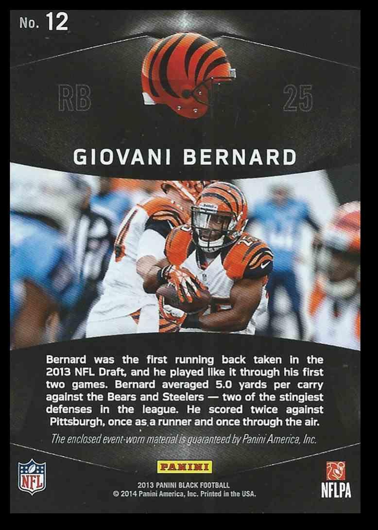 2014 Panini Black Giovani Bernard #12 card back image