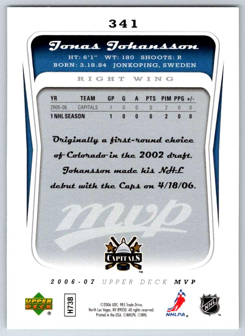 2006-07 Upper Deck MVP Jonas Johansson #341 card back image