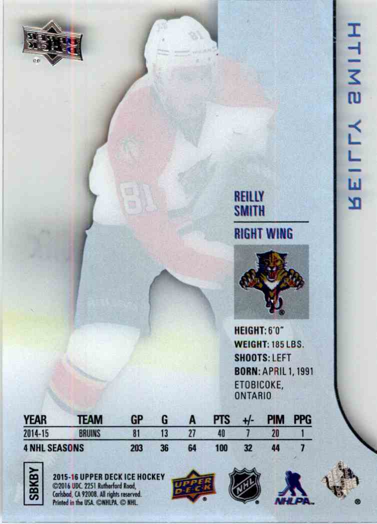 2015-16 Upper Deck Ice Reilly Smith #19 card back image