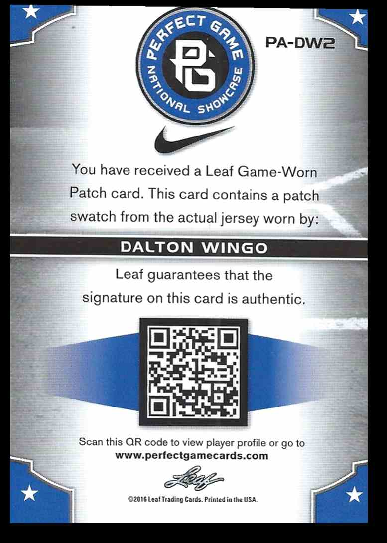2016 Leaf Perfect Game Swatch Dalton Wingo #PA-DW2 card back image