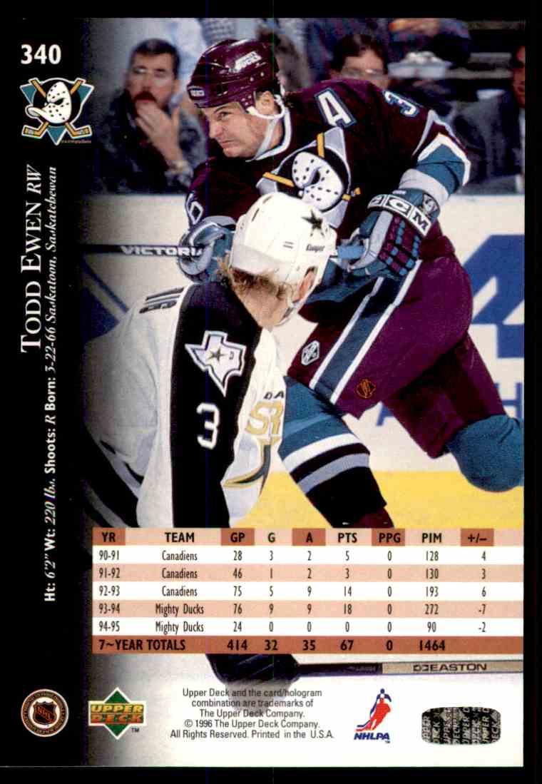 1995-96 Upper Deck Todd Ewen #340 card back image