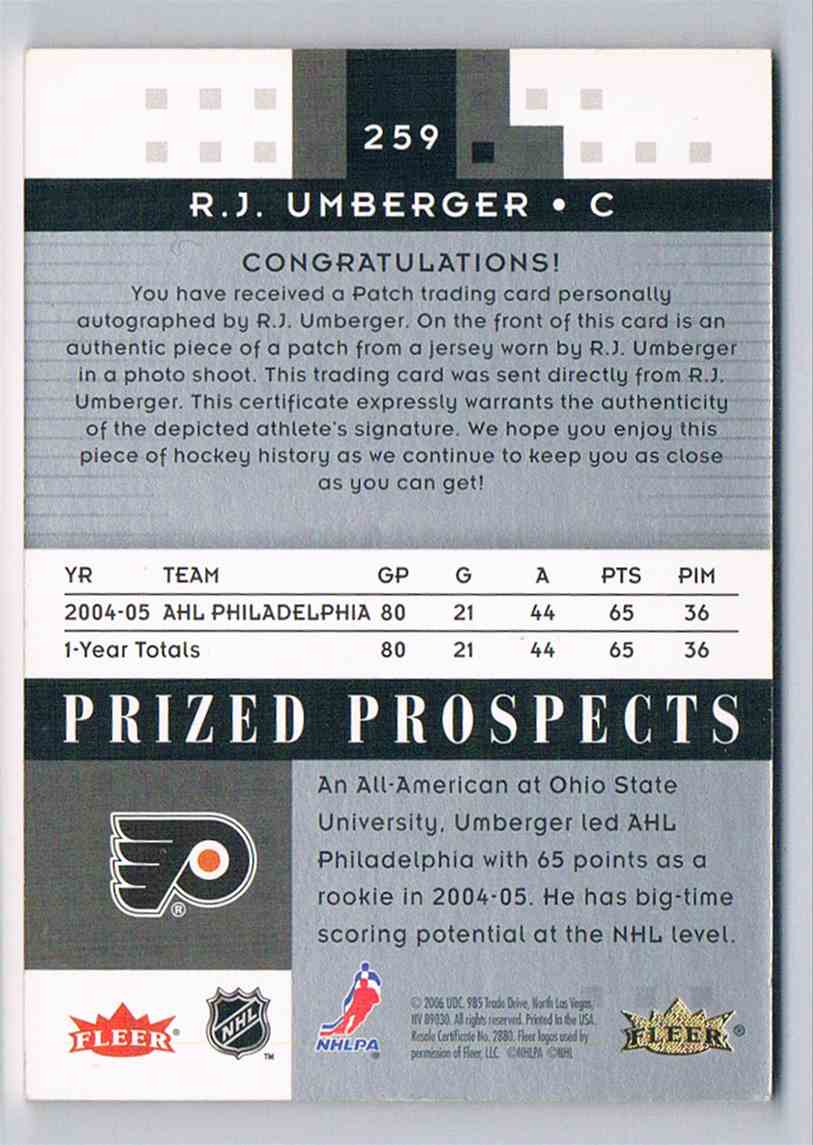 2005-06 Hot Prospects R.J. Umberger #259 card back image