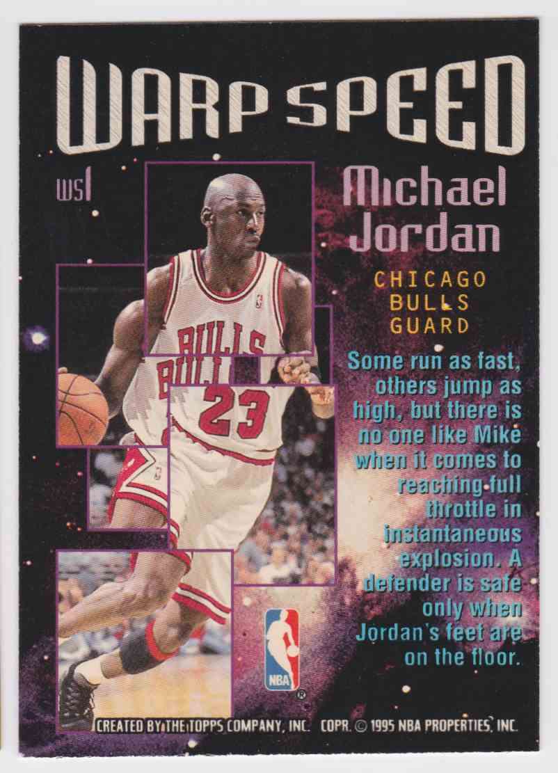 1995-96 Topps Stadium Club Warp Speed Michael Jordan #WS1 card back image