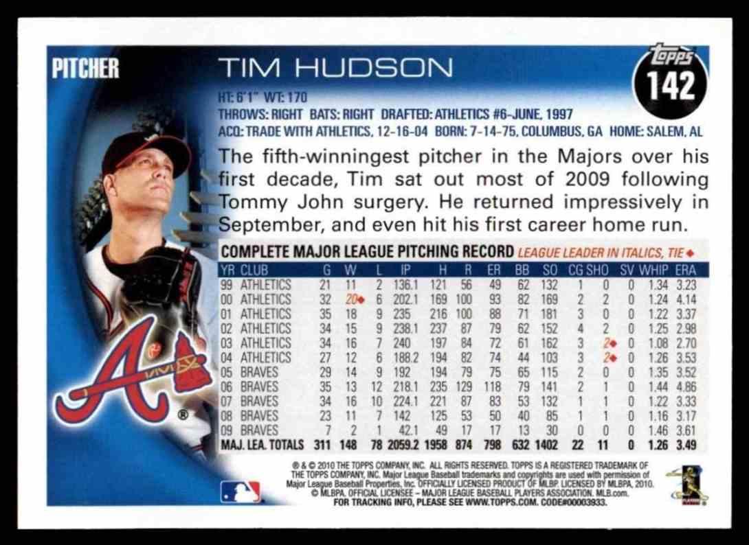 2010 Topps Tim Hudson #142 card back image