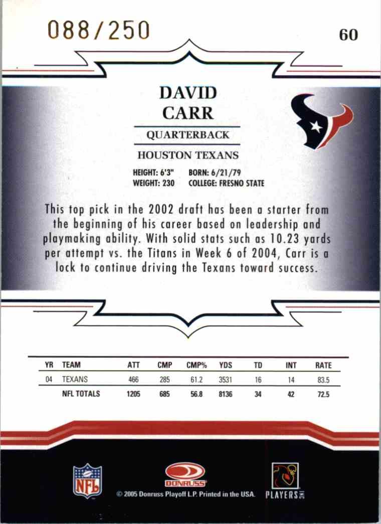 2005 Donruss Threads David Carr #60 card back image