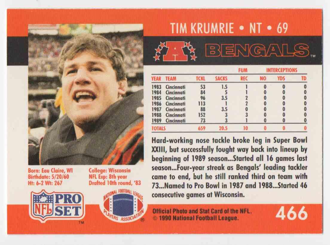 1990 Pro Set Tim Krumrie #466 card back image