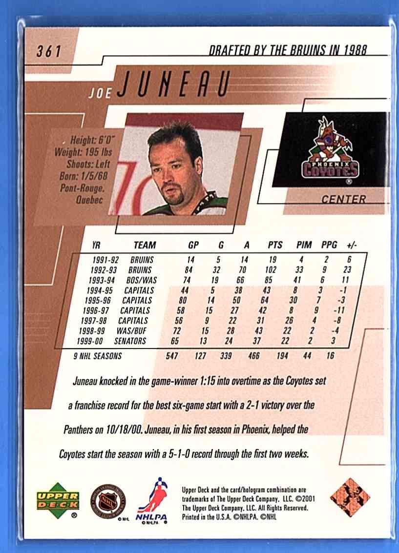 2000-01 Upper Deck Joe Juneau #361 card back image