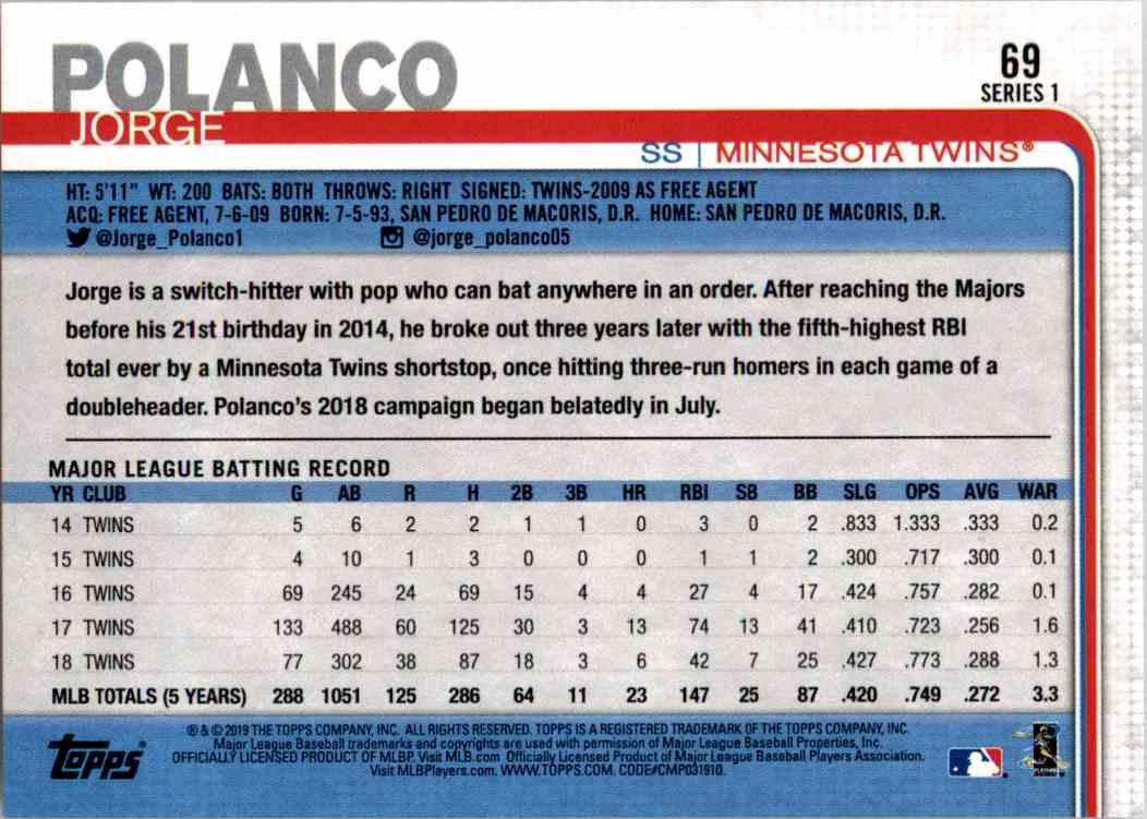 2019 Topps Series 1 Jorge Polanco #69 card back image