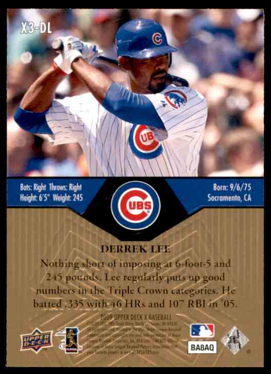 2009 Upper Deck X Xponential 3 Derrek Lee #X3DL card back image