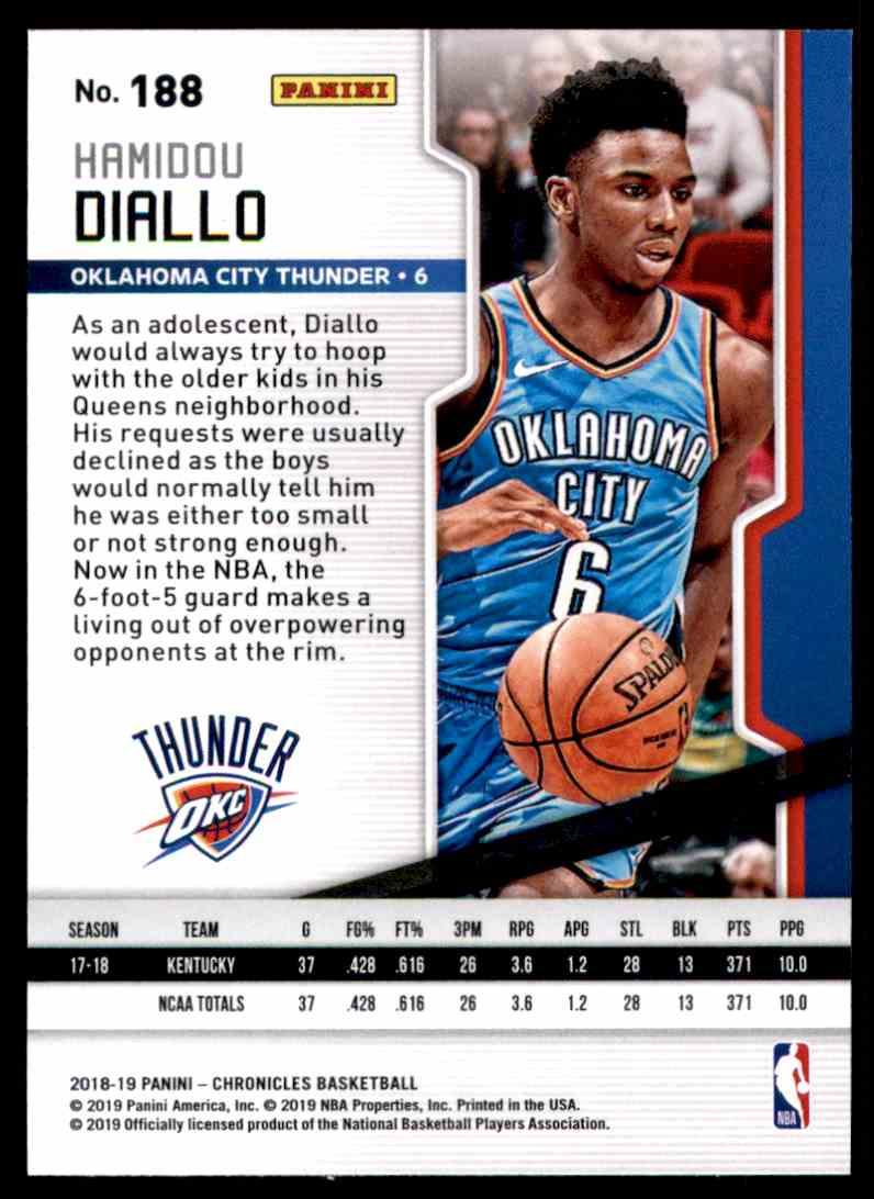 2018-19 Panini Chronicles Hamidou Diallo/Playoff #188 card back image