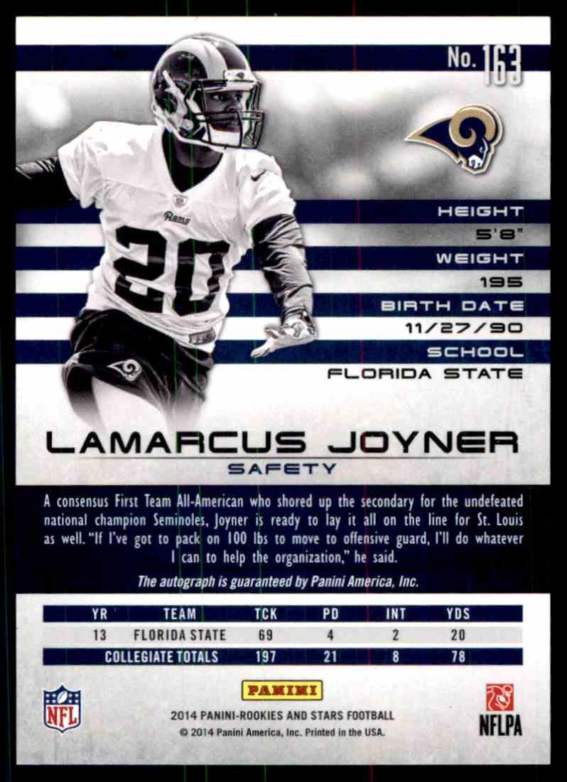 2014 Panini Rookies And Stars Lamarcus Joyner card back image
