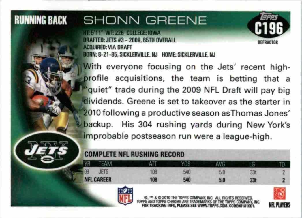 2010 Topps Chrome Shonn Greene #C196 card back image