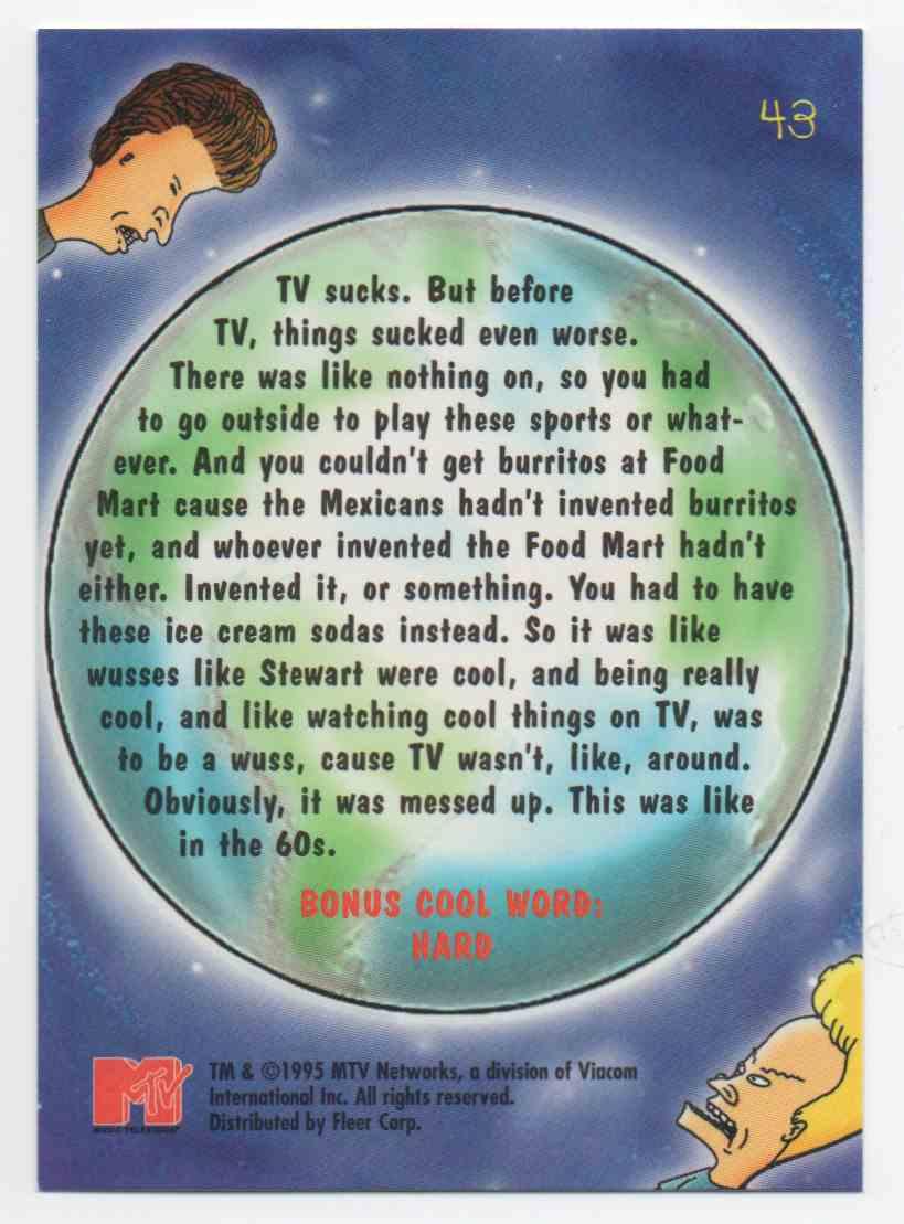 1995 Ultra Mtv Animation Beavis & Butthead #43 card back image