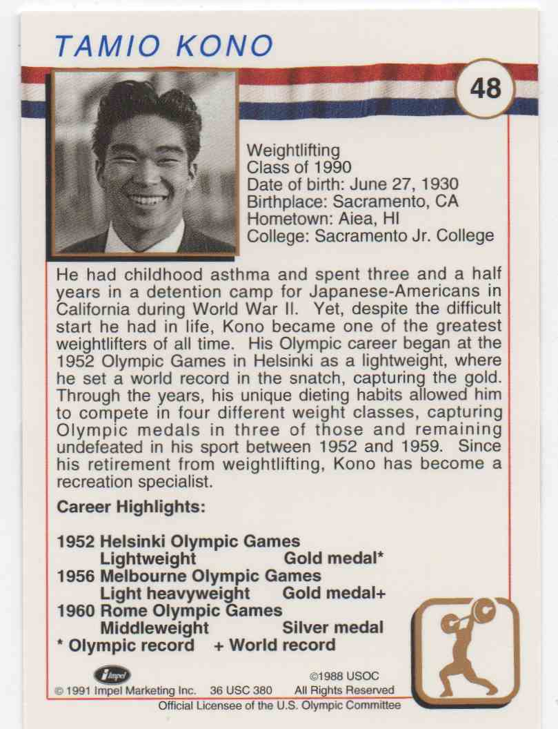1991 Impel U.S. Olympic Hall Of Fame Tommy Kono #48 card back image