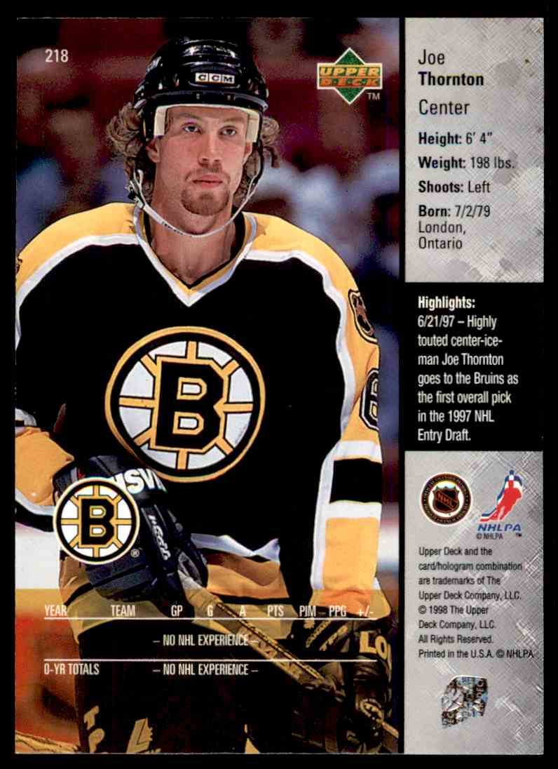 1997 98 Upper Deck Joe Thornton 218 On Kronozio