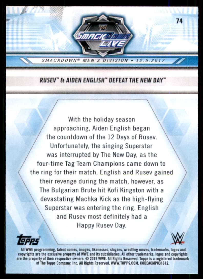 2019 Topps Wwe Road To WrestleMania Rusev & Aiden English Defeat The New Day #74 card back image