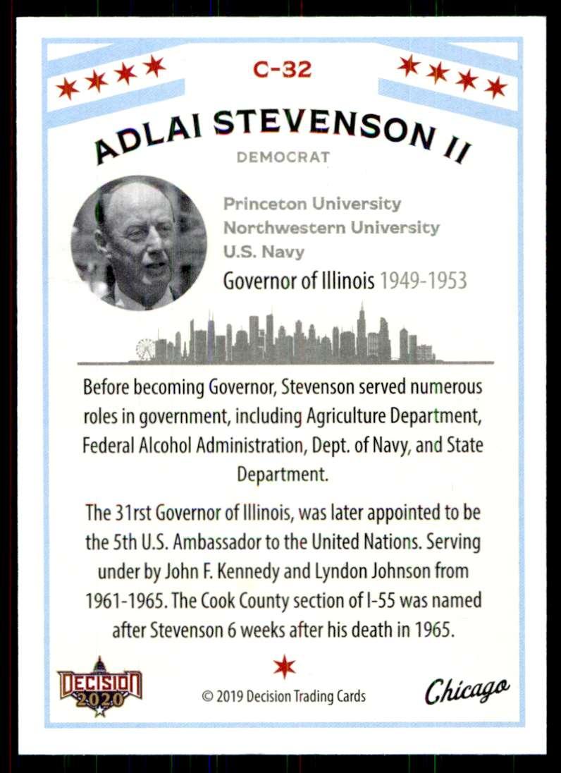2020 Decision Chicago Poltiics Adlai Stevenson II #C-32 card back image