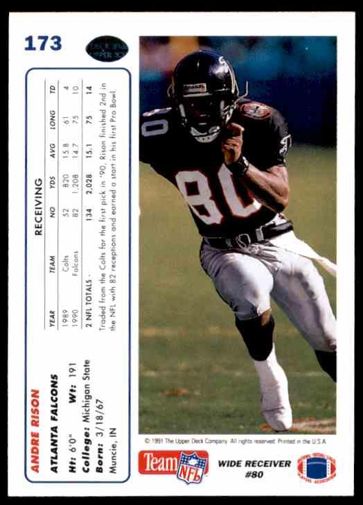 cb1f84d46 Real card back image 1991 Upper Deck Andre Rison #173 card back image