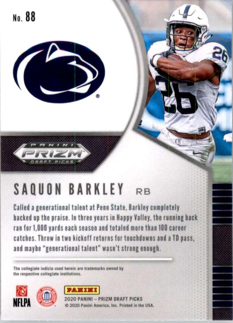 2020 Panini Prizm Draft Picks Saquon Barkley #88 card back image