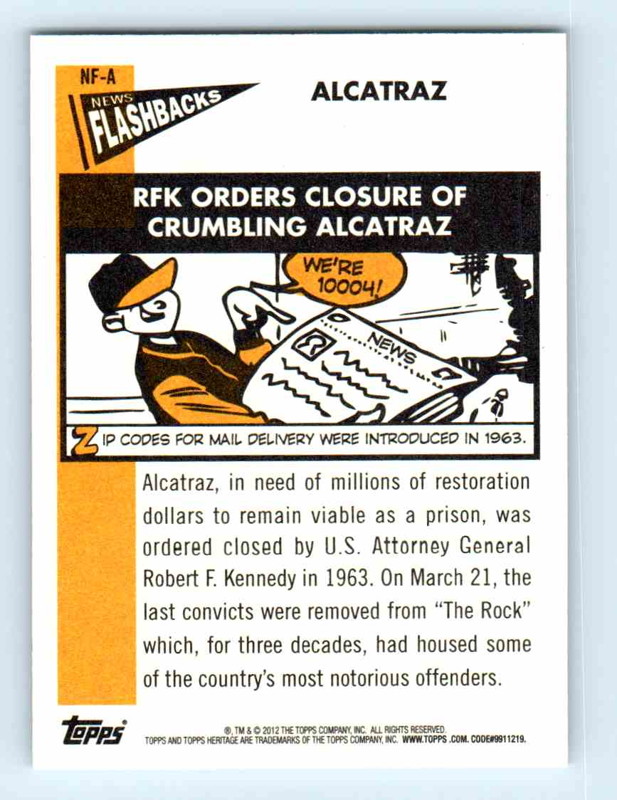 2012 Topps Heritage Baseball Flashbacks Alcatraz #NF-A card back image